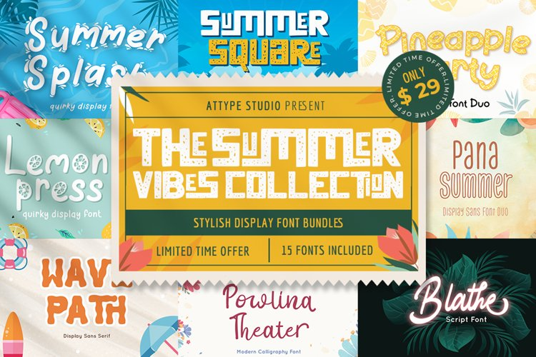 The Summer Vibes Collection Font Bundles