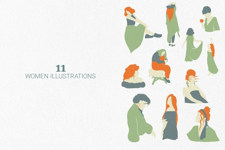 Bohemian women abstract vector outlines