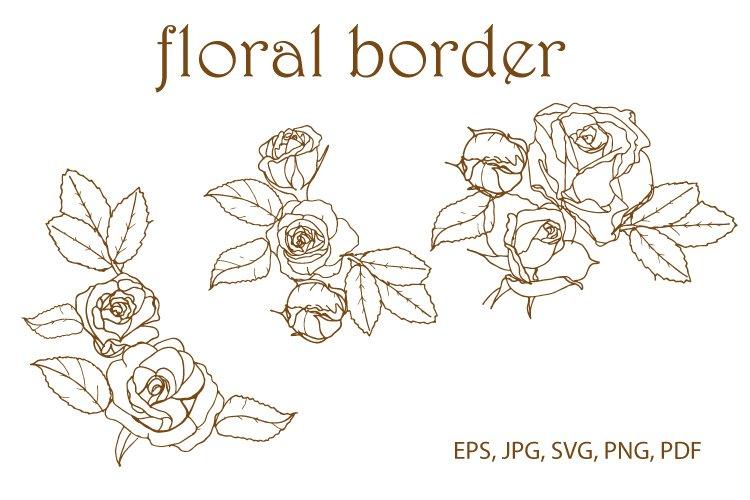 Rose floral border, corner SVG. Vector.