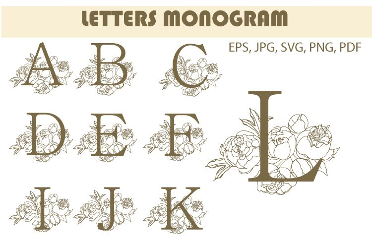 Monogram letter SVG. A to Z Logos, Cut files for cricut