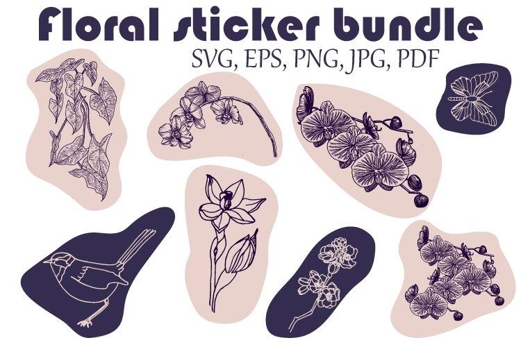 Floral sticker bundle. Orchid sticker SVG. Vector
