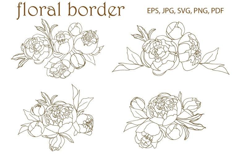 Peony floral border, corner SVG. Vector, Peony SVG