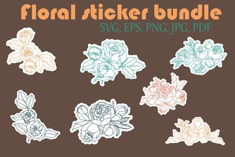 Floral sticker bundle. Peony sticker. Rose sticker. Vector