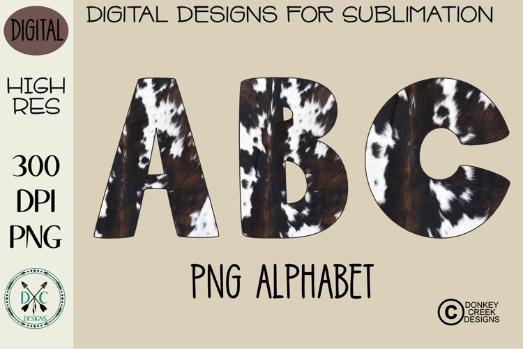 Cowhide PNG Alphabet for Sublimation