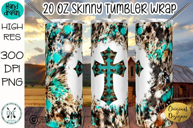 Sublimation Tumbler Wrap Cowhide and Turquoise Cross