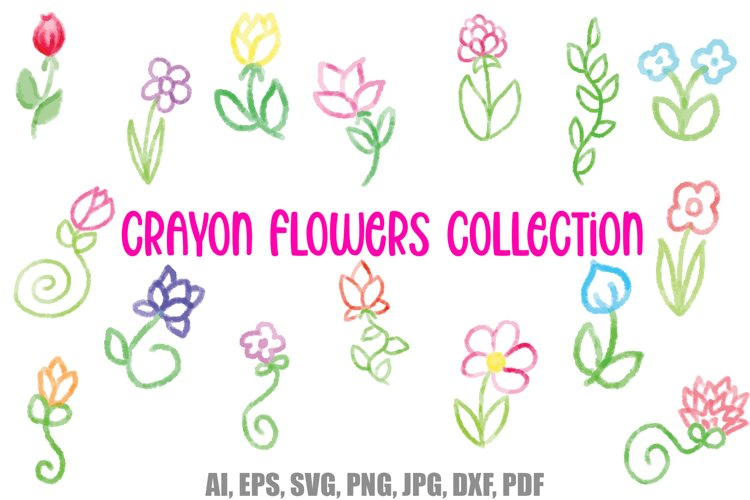 30 Crayon Style Cartoon Flowers and Wildflowers SVG PNG EPS