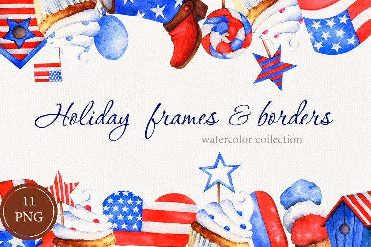 Watercolor holiday frames and borders