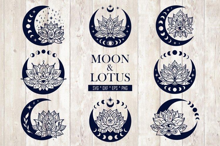 Mandala Moon and Lotus Flower Svg Bundle. Mystical Clipart.