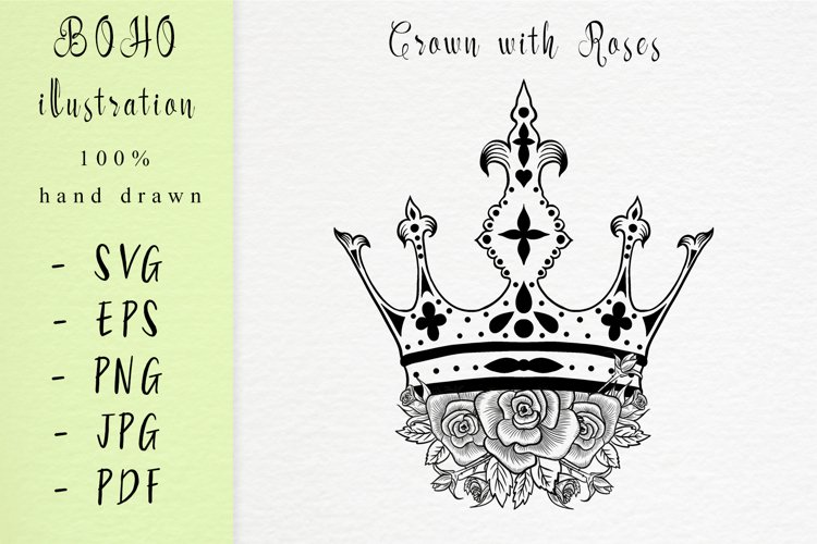 Boho illustration /Crown With Roses example image 1