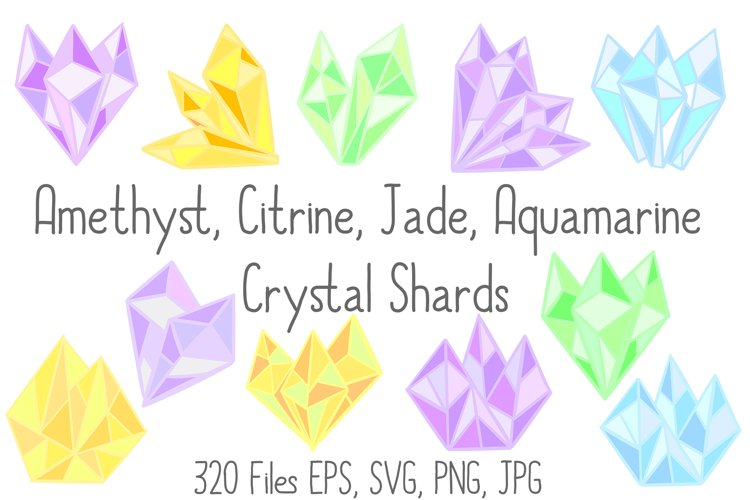 Pastel Quartz Healing Crystal Shapes SVG, EPS, PNG JPG Files example image 1