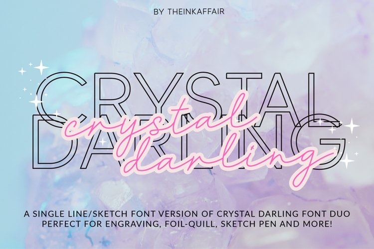 Single line Crystal Darling, a sketch sans and script font example image 1