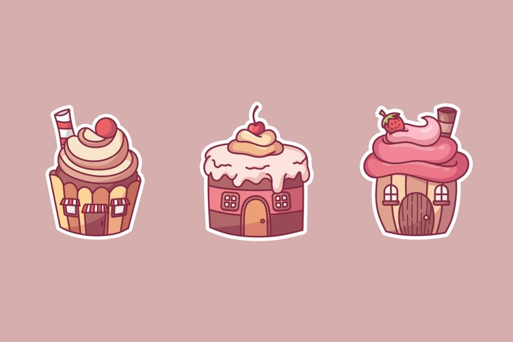 Cupcake Sticker Illustrations