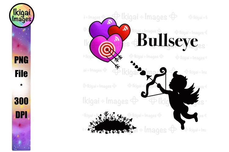 Cupid Clipart, Valentines Day Sublimation Design, Bullseye