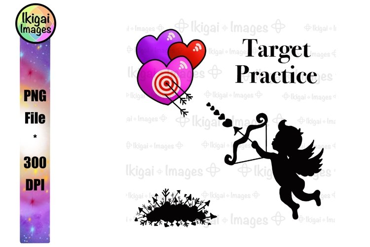Cupid Clipart with Target, Valentines Day Sublimation Design