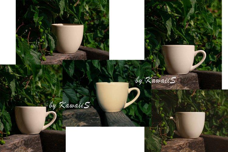 5 Photos Set White Cup Mockup Tea Coffee Mug TemplateOutdoor