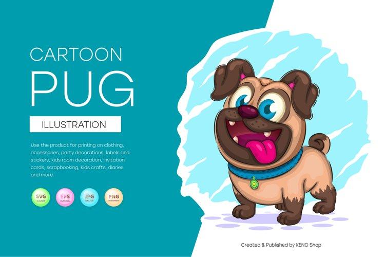 Cute cartoon pug, cute clipart, animal