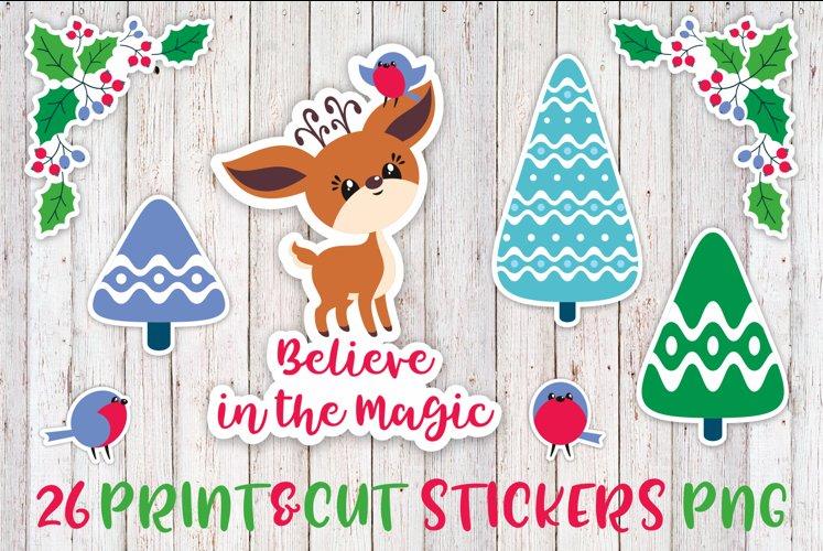 Cute Christmas Deer Printable Stickers PNG