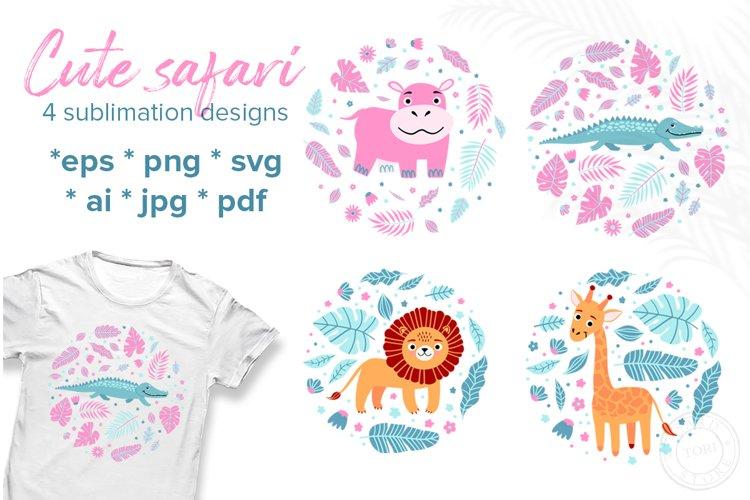 Baby animals sublimation bundle. Cute safari animal designs