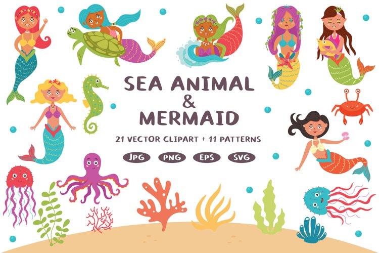 Cute Little Baby Mermaid Girl Princess Bundle Clipart