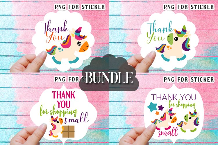 Thank you for shopping small sticker bundle - Summer unicorn