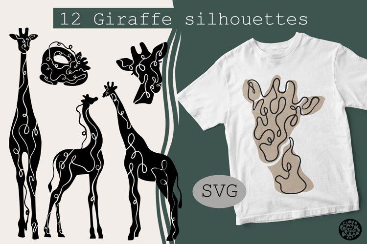 12 Giraffe silhouettes hand drawn decorative print style.SVG