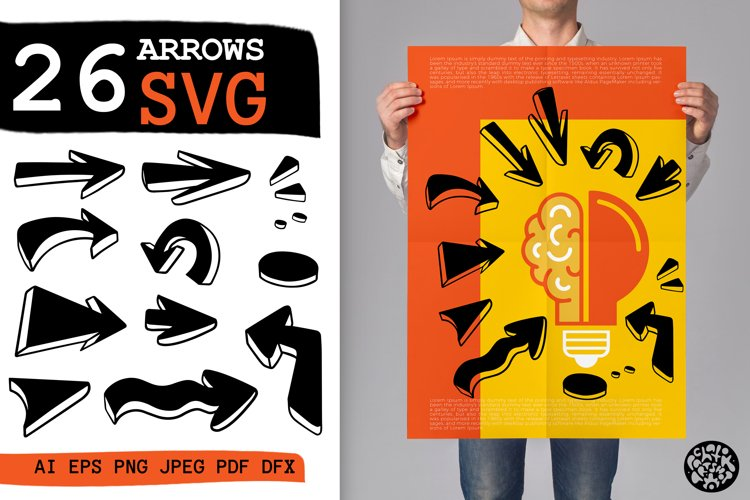 26 Hand drawn arrows set.SVG isolated.silhouette doodle