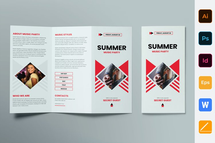 Summer Music Party Brochure Trifold