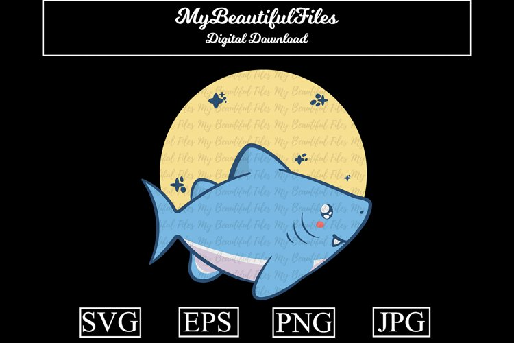 Shark SVG - Cartoon Animal SVG, EPS, PNG and JPG example image 1