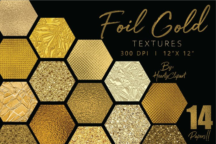 Gold foil digital papers example image 1