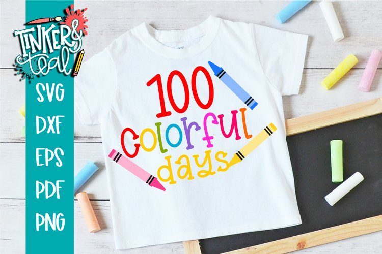 100 Colorful Days of School SVG example image 1