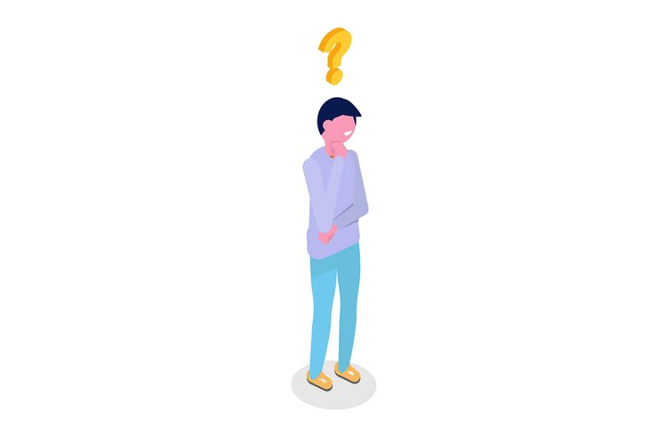 Man is thinking isometric character. Vector illustration. example image 1