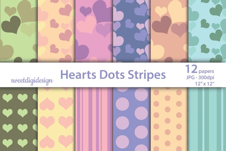Pastel hearts digital paper, seamless heart backgrounds example image 1