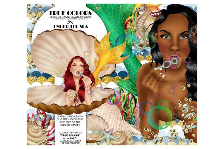 Mermaid ClipArt Afro American Mermaid Clip Art example image 1