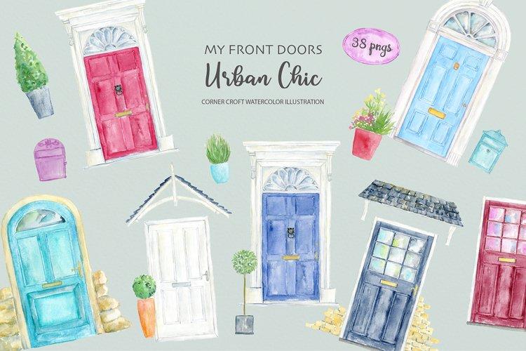 Watercolor Front Door Urban Chic
