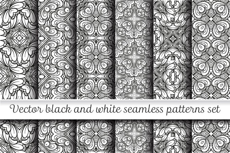 Vector black and white seamless patterns set example image 1