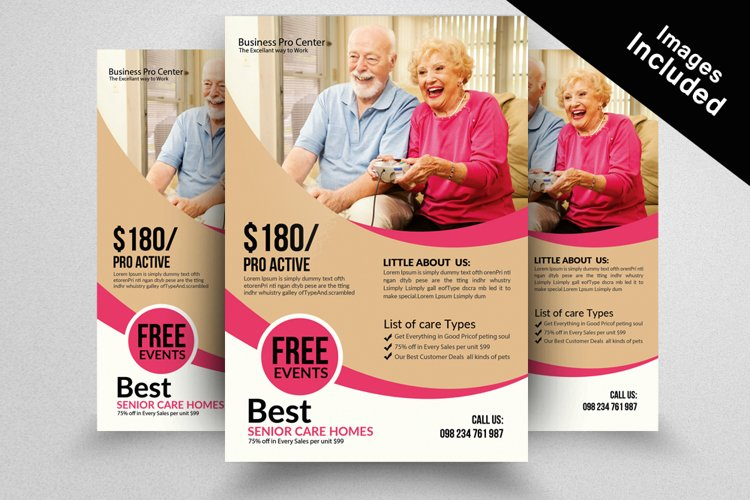 Old Care Homes Flyers Template example image 1