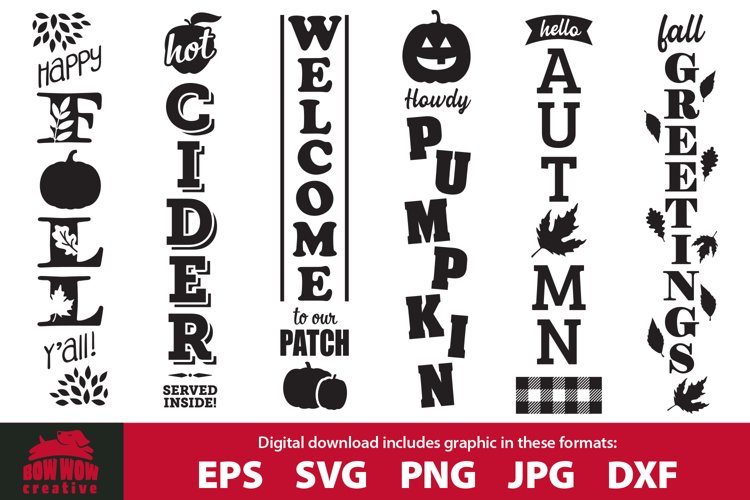 Fall / Autumn porch sign bundle - SVG, EPS, JPG, PNG, DXF example image 1
