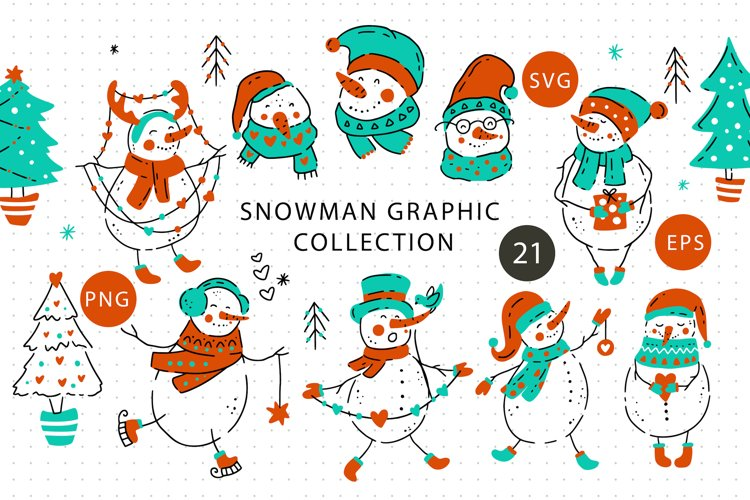 Snowman Christmas Graphic Pack. example image 1