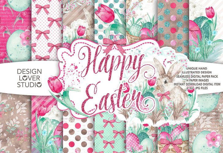 Watercolor Happy Easter digital paper pack 2 example image 1