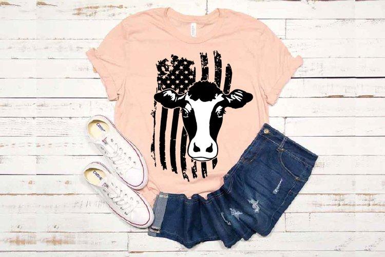 Cow USA Flag SVG cowboy 4th July Farm 1672 example image 1