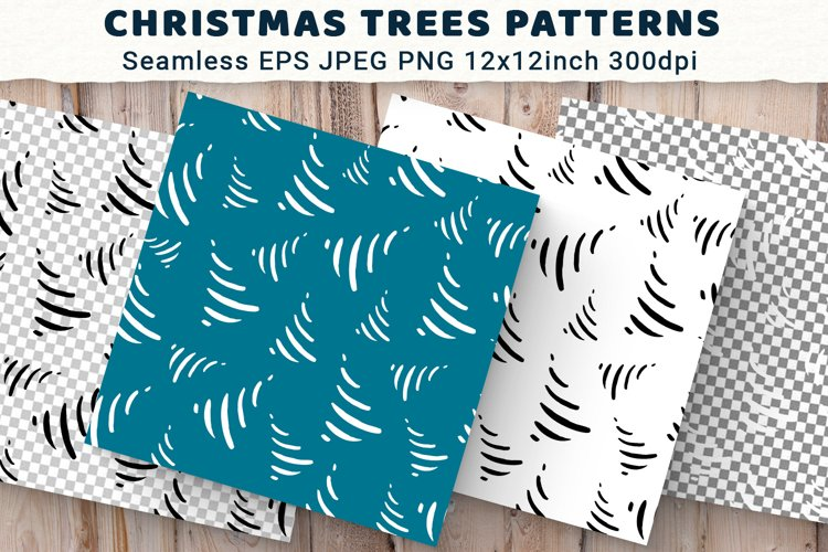 Seamless Stylized Christmas Trees Patterns. Digital paper. example image 1
