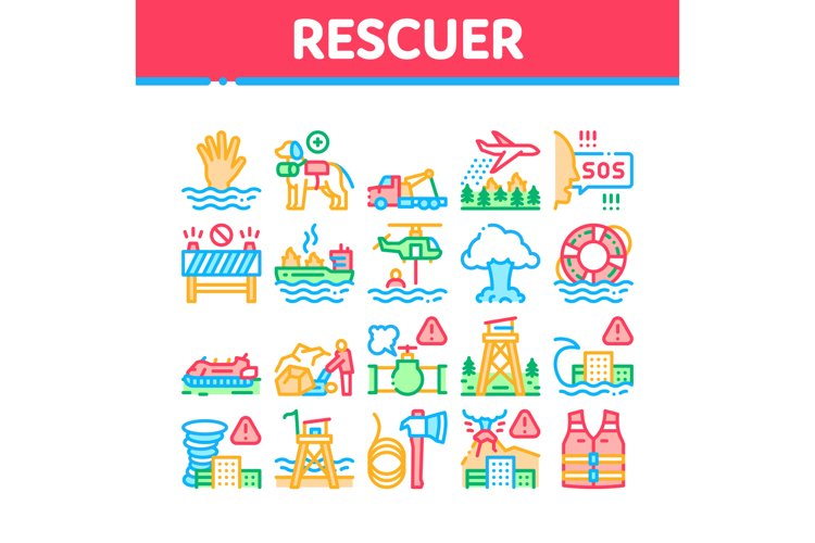 Rescuer Equipment Collection Icons Set Vector Illustrations example image 1