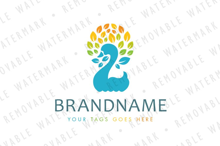 Swan of Leaves Logo example image 1