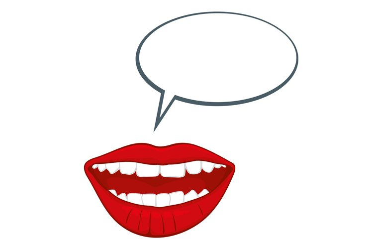 Open womans mouth with speech bubble vector illustration