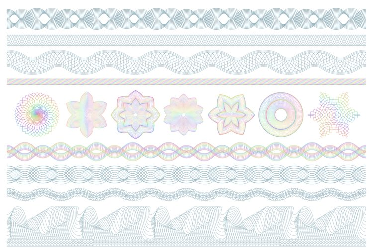Guilloche patterns. Bank money security, banknotes seamless example image 1