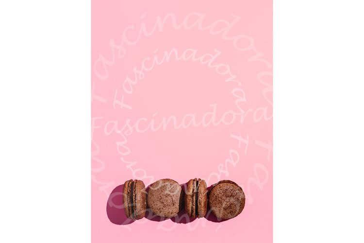 Macarons on pink, copy space, hard light example image 1