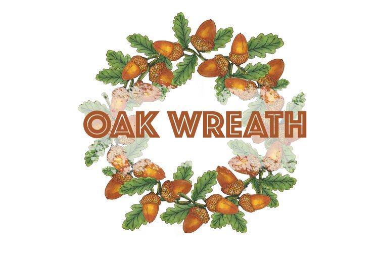 Hand drawn watercolor oak branch wreath with acorns
