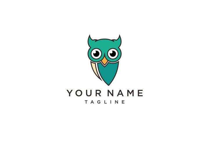 Owl bird simple logo template design. Smart Education logo example image 1