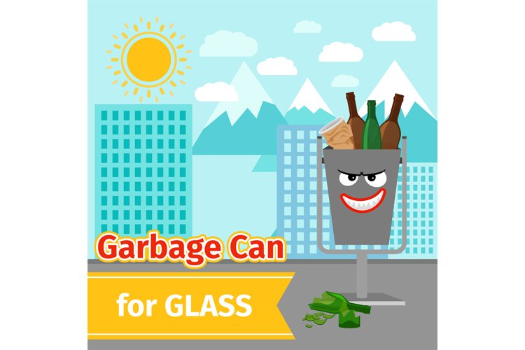 Glass trash can with monster face example image 1