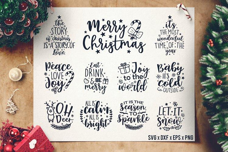 Christmas Sayings SVG Bundle - Christmas Quotes SVG - DXF example image 1